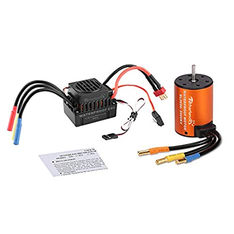 Rcharlance 3650 3900KV Brushless Motor 3 175mm Sensorless with 60A ESC  Brushless Waterproof Electronic Speed Controller Combo Set Upgrade Power  System