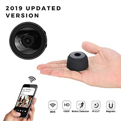 Mini Hidden WiFi Spy Camera, Full HD 1080P Wireless, Portable Indoor Home Security with APP, Remote Viewing, Motion Detection Alert, Night Vision, Rechargeable Battery, 150° Wide Angle Nanny Cam.