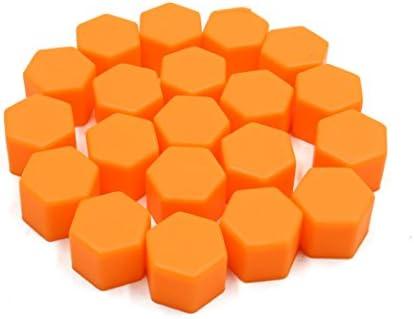 uxcell タイヤスクリューキャップ 17 x 19mm オレンジ 自動車 ホイールタイヤ ハブ ネジ ボルトナット キャップ カバー 20個入り