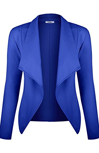 BodiLove Women's Long Sleeve Casual Work Open Drape Ponte Blazer Jacket Royal Blue S