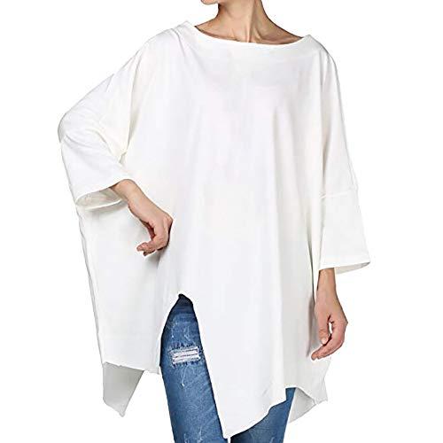 AIMEE7 Tee Shirt Femme Long Irrgulire Tops Manches Longues Col Rond Lache Blouse Blanc