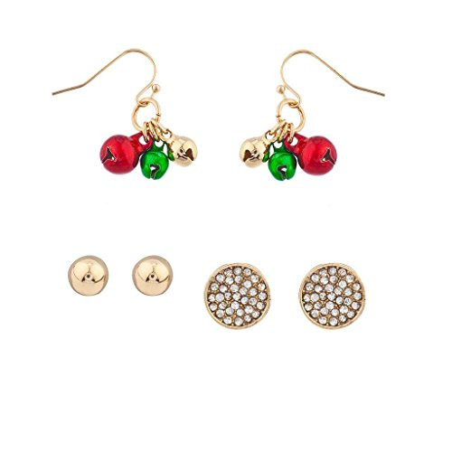 Bell Clip Earrings - Lux Accessories Gold Tone Crystal Pave xmas Christmas Holiday Bells Earring Set
