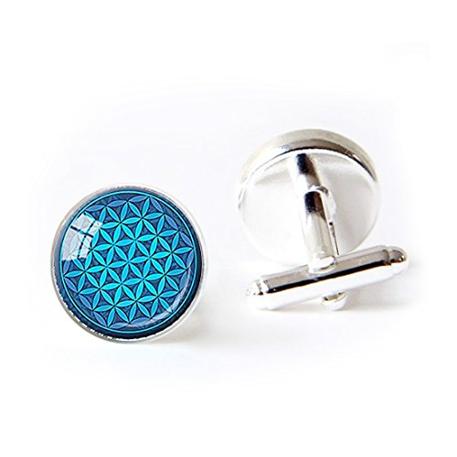 - LooPoP Round Cufflink Set Flower of Life Turquoise Sacred Geometry Spiritual Cufflinks for Men's Accessories Shirts Business Wedding