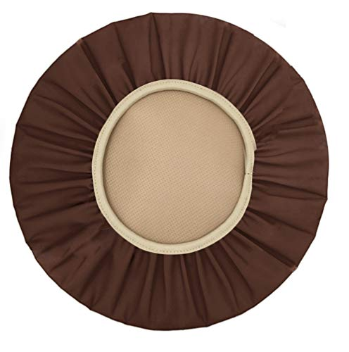 Augld Round Bar Stool Cover Watedrproof Faux Leather Stool Slipcover 14 Inch Coffee