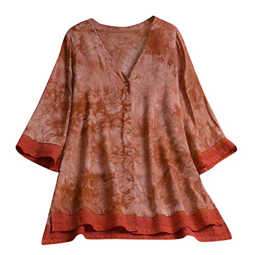TnaIolral Ladies Shirt Plus Size Loose Linen Sleeve Summer Button Tanic Blouse -