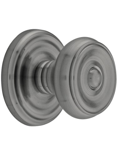 Classic Rosette Set With Waverly Knobs Privacy In Antique Pewter. ()