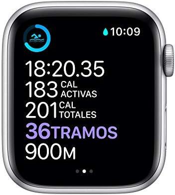 Nuevo AppleWatch Series6 (GPS + Cellular)- Caja de aluminio color plata de 44mm- Correa deportiva blanca - Estándar 6