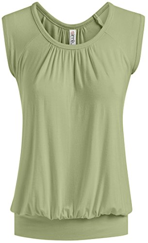 Short Sleeve Top Loose Fit Top for Women Scoop Neck Gathered Banded Shirt - USA (Size Medium US 6-8, -