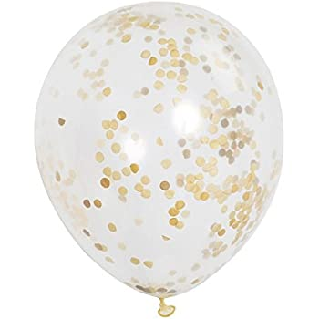 "12-Pack of 12"" Gold Confetti Balloons"