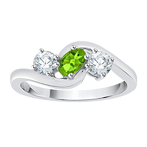 KATARINA Diamond and Oval Cut Peridot Promise Ring in 14K White Gold (5/8 cttw, G-H, I2-I3) (Size-9.5)