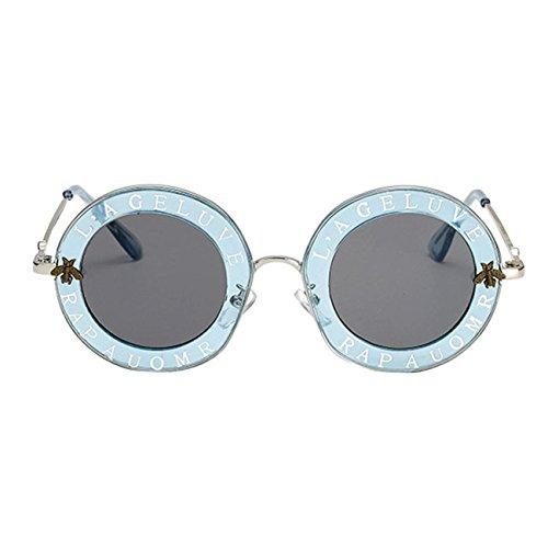 Lunettes De Soleil Rondes, La Femme De Lettres Mode RéTro Vintage Abeille Cercle Lunettes Eyewear C