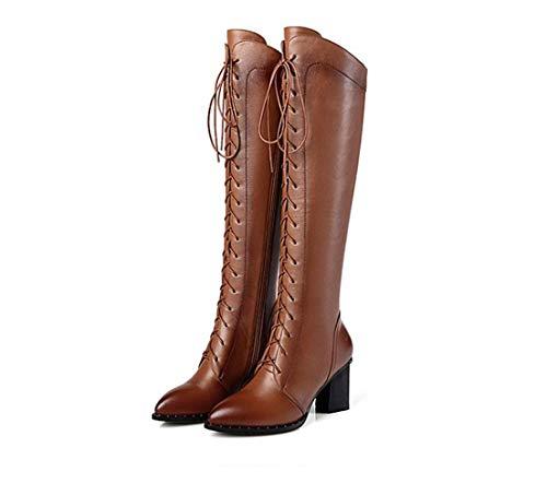 Genou Pour En Hauteur Femme Du À Talons Brown Lacets Chaussures À Cuir Hauts Cuir À En Chaussures Bottes Eaq6g4wq