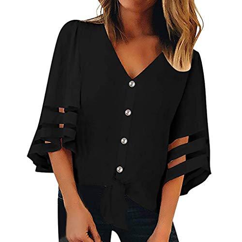 (GOWOM Women Button V Neck Mesh Panel Blouse 3/4 Bell Sleeve Loose Top Shirt(Black,XX-Large))