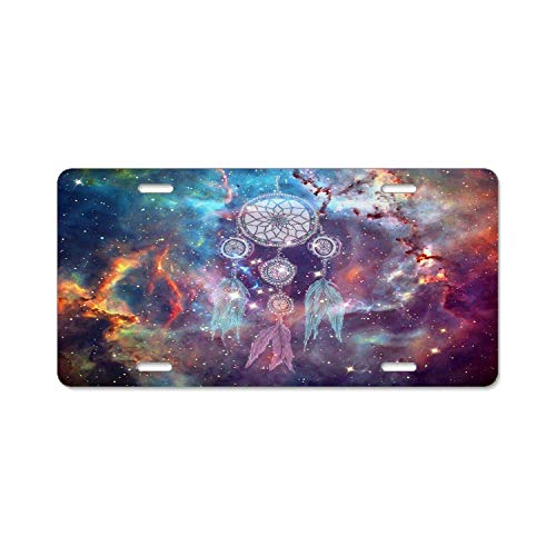 YEX Abstract Colorful Dream Catcher Galaxy License Plate Frame Car License Plate Covers Auto Tag Holder 6