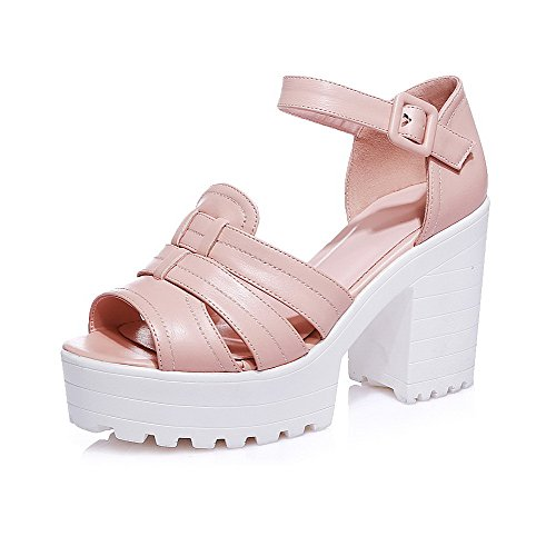 AmoonyFashion Womens Buckle Peep Toe High-Heels PU Solid Sandals Pink 4Aatc6ATR