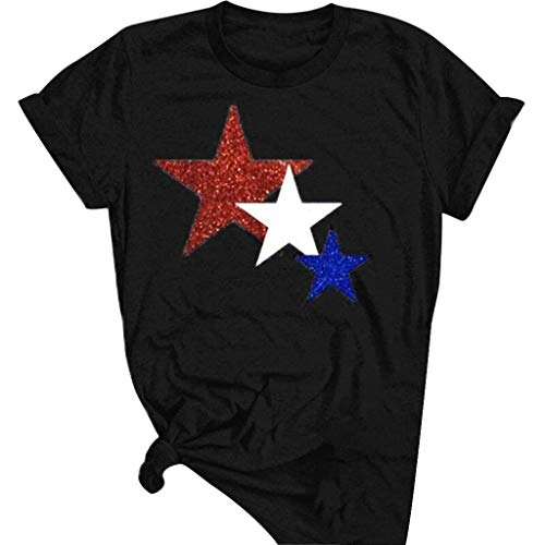 Aunimeifly Women's Casual T-Shirt Round Neck Short-Sleeved Blouse Star Print Tee Loose Large Size Tops Black