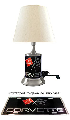 (Table Lamp with Shade, Corvette Plate Rolled in on The lamp Base)