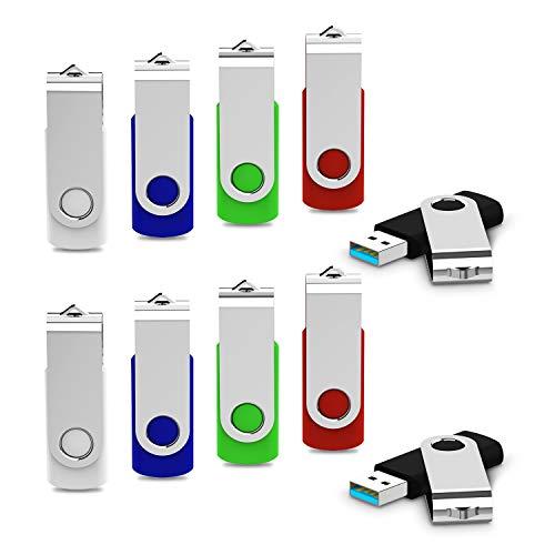 JUANWE 10 Pack 32GB USB Flash Drive USB 3.0 Swivel Thumb Drive Memory Stick Jump Drive Pen Drive - Black/Red/Blue/Green/White (32GB, 5 Mixed Color)