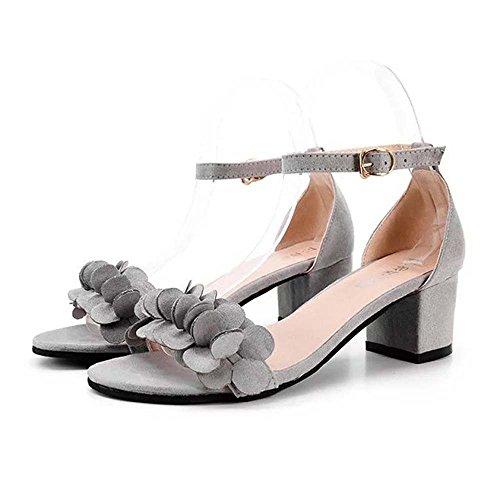 Boucle Haut Hauts Talon Les Dames Chaussures Sandales Travestissement Winwintom Gris Ornent Fleurs Bloc Talons xnqP41