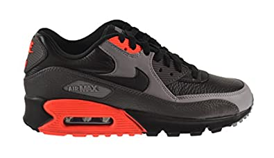 Nike Air Max 90 Leather Men\u0026#39;s Shoes Black/Black-Medium Ash-Total Crimson 652980-002 (13 D(M) US)