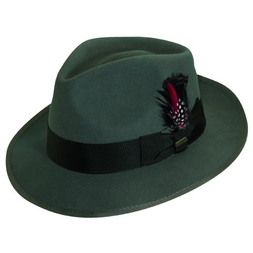 Satin Bow Fedora (Scala Classico Men's Wool Felt Snap Brim Fedora, Grey, Large)