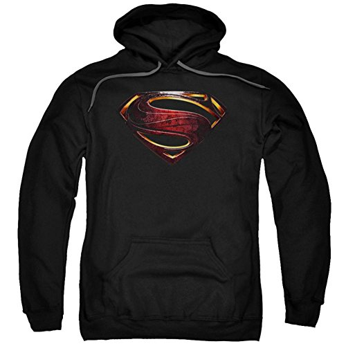 Justice League Movie Superman Logo-Adult Pull-Over Hoodie-Black