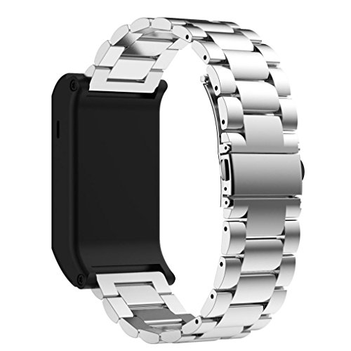 Elegance Stainless Steel Analog (Wristband ,Vanvler Metal Stainless Steel Watch Band Replacement Strap For Garmin Vivoactive HR (Silver))