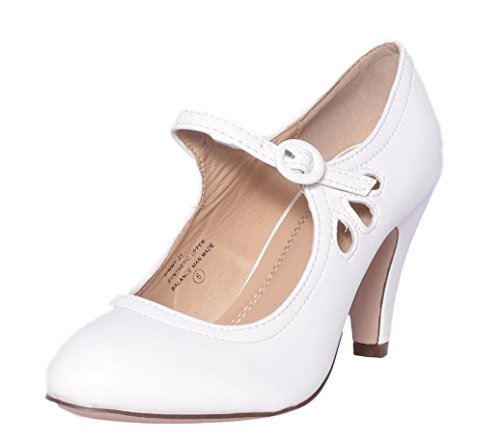 Mid 21 Chase Dress Jane Round Heel Pierced Chloe Style White Kimmy Pu Women's Toe amp; Mary Pumps rtCx8qwrF