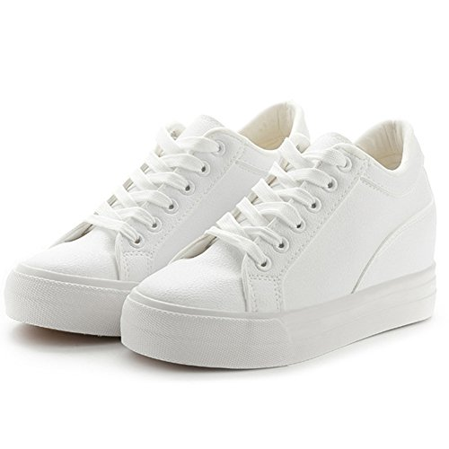 Buganda Women Fashion Leather Sneakers Casual Lace Up White Black Flat Shoes High Top Hidden Heel Wedges Platform Shoes White 2 FSfiGmDDB