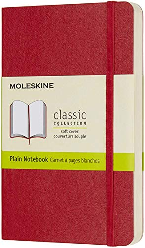 """Moleskine Classic Notebook, Soft Cover, Pocket (3.5"""" x 5.5"""") Plain/Blank, Scarlet Red, 192 Pages"""