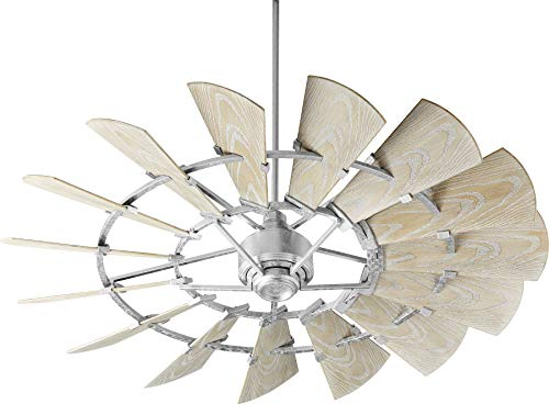 Quorum 196015-9 Windmill Ceiling Fan in Galvanized with UL Damp Weathered Oak Aluminum Blades