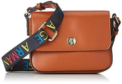 Armani Exchange - Small Crossbody Bag With Round Logo, Bolsos bandolera Mujer, Marrón (