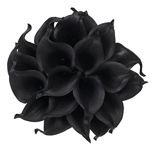 - Houda Calla Lily Bridal Wedding Artificial Fake Flowers Party Decor Bouquet PU Real Touch Flower 10PCS (Black)