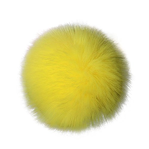 Diadia Faux Fox Fur Fluffy Pompom Ball for Hat Shoes Scarves Bag Charms Knitting Hat DIY Accessories (White) Yellow