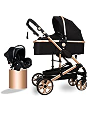 3 in 1 Baby Stroller Adjustable High View Pushchairs and Prams, Premium Prams and Strollers for Babys, Carseat and Strollers Combo with Stroller Foot Cover, Black