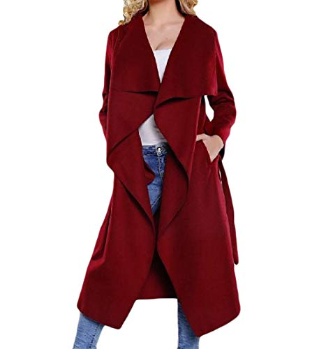 Women Red Fashion Collar Trench Mid Wine Belted Coat Woolen Down Howme Long Turn ZdpUqZ78