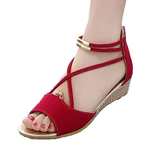 (Hee grand Women Roman Style Open Toe Cross Strap Flat Sandals US 7 Red)