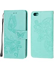 Jorisa Wallet Case Compatible with iPhone 6/iPhone 6S,Embossed Butterfly Flower PU Leather Flip Magnetic Purse Phone Cover with Card Holder Wrist Strap Stand Protective Cover,Green
