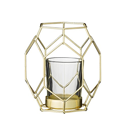 Bloomingville Small Gold Metal Geometric Votive Holder with Glass (Small Taper Glass Candle Holder)