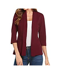 Coat for Women! Paymenow Clearance Womens Casual Work Office Open Front Blazer Slim 3/4 Sleeve Solid Cardigan Jacket Suit