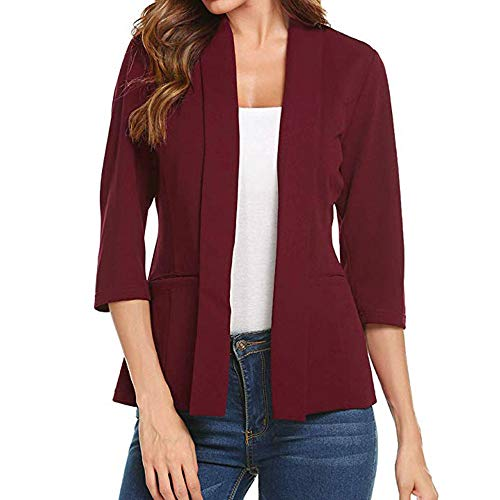 Byyong Women Mini Suit Casual 3/4 Sleeve Open Front Work Office Blazer Jacket Cardigan(S, Red)