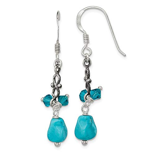 925 Sterling Silver Blue Turquoise Crystal Drop Dangle Chandelier Earrings Fine Jewelry Gifts For Women For Her
