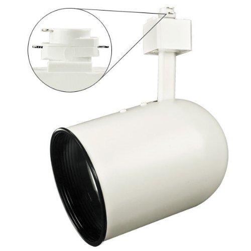Nora Track Light NTH-106W - White - Round Back Cylinder with Black Baffle - Operates 75 Watt R/PAR30 - Compatible with Halo Track - 120 Volt (Round Back Par30 Cylinder)