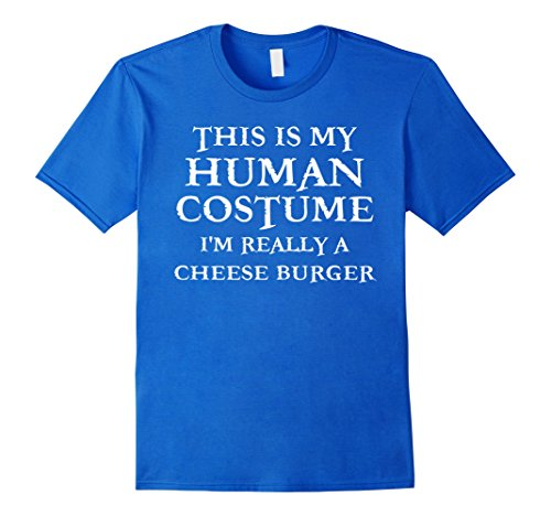 Mens Last Minute Cheese Burger Halloween Human Costume T-Shirt 2XL Royal Blue (Minute Man Costume)