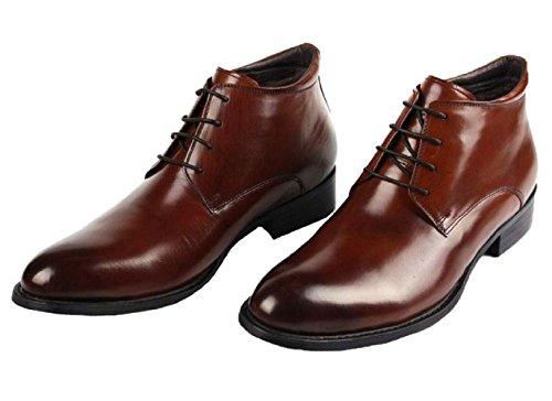 Santimon-mens Cuir Véritable Cousu À La Main Haut-haut À Lacets Cheville Affaires Oxford Chaussures Café