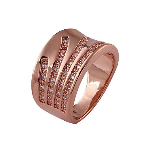 Elegant Women D¨¦cor Xmas Gift new classical rose gold plated spin white CZ filled copper ring size 8