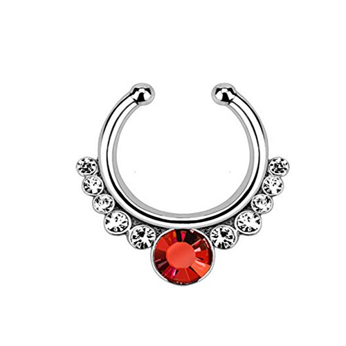 1pc Non-Piercing Helios Septum Hanger Clip-On Fake Nose Ring Body Jewelry (Silver with Red Gem) (Gem Ring Red Nose)