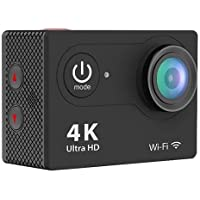 IPM 4K Waterproof 12MP Ultra HD Action Camera with Wi-Fi, 170deg. A+ HD Wide-Angle Lens, 10fps, H.264, MPEG, Black