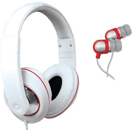 iSound DJ Style Headphones with included matching earbuds (white)