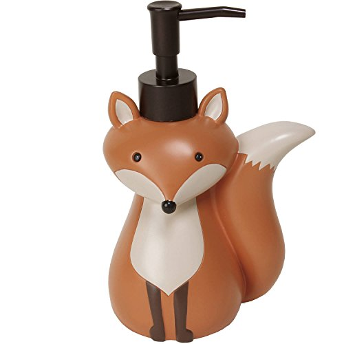 Mainstays Kid's Lotion or Soap Dispenser Pump Woodland Creature Fox Animal for Kitchen, Bathroom or Baby (Fox Shower Curtain Hooks)